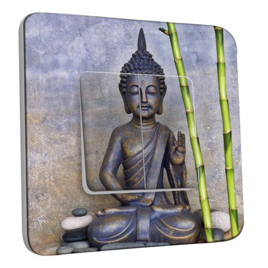 Interrupteur Décoré Double Va et Vient - Statue de Bouddha