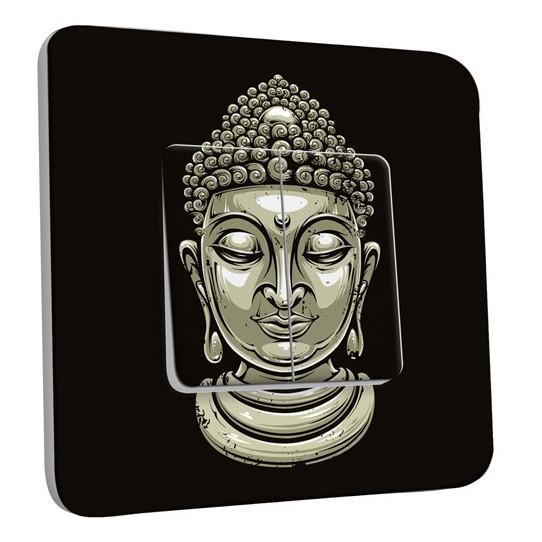 Interrupteur Décoré Double Va et Vient - Tête de Bouddha