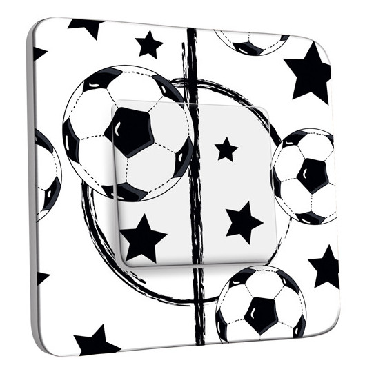 Interrupteur Décoré Simple - Foot Design Black&White Etoiles