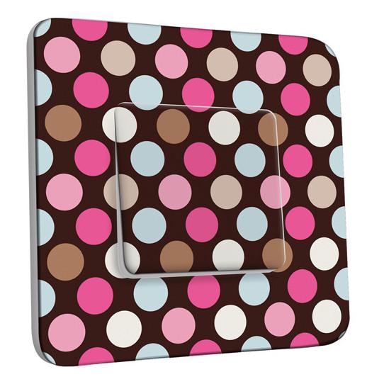 Interrupteur Décoré Simple - Pois Multicolores Fond Chocolat