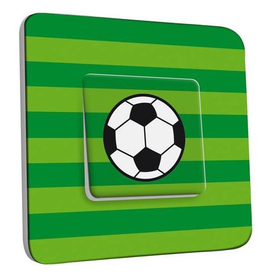 Interrupteur Décoré Simple Va et Vient - Ballon de foot Fond vert