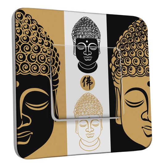 Interrupteur Décoré Simple Va et Vient - Bouddha Zen Black&Gold 1