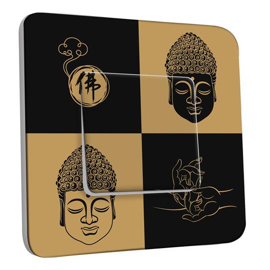 Interrupteur Décoré Simple Va et Vient - Bouddha Zen Black&Gold