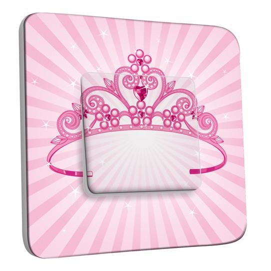 Interrupteur Décoré Simple Va et Vient - Couronne Princesse Rose