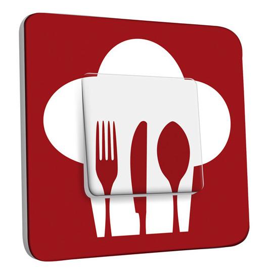 Interrupteur Décoré Simple Va et Vient - Cuisine Couverts Red&White