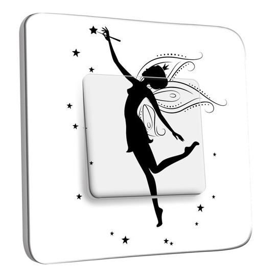 Interrupteur Décoré Simple Va et Vient -  Fée Enfant Black&White