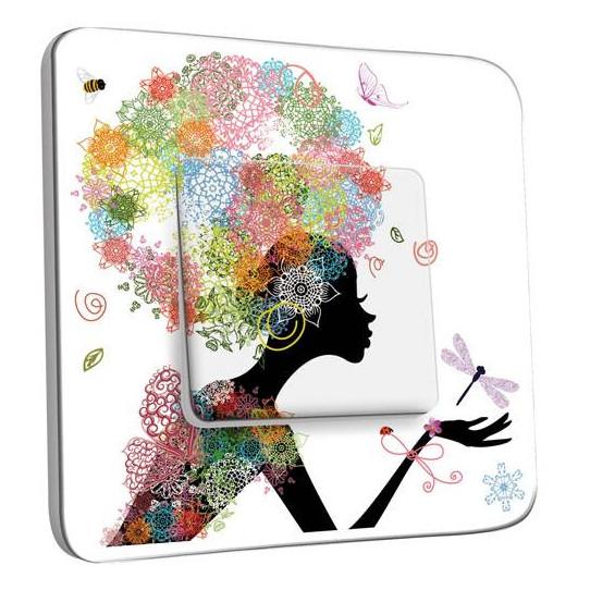 Interrupteur Décoré Simple Va et Vient - Femme en Fleurs Design 1