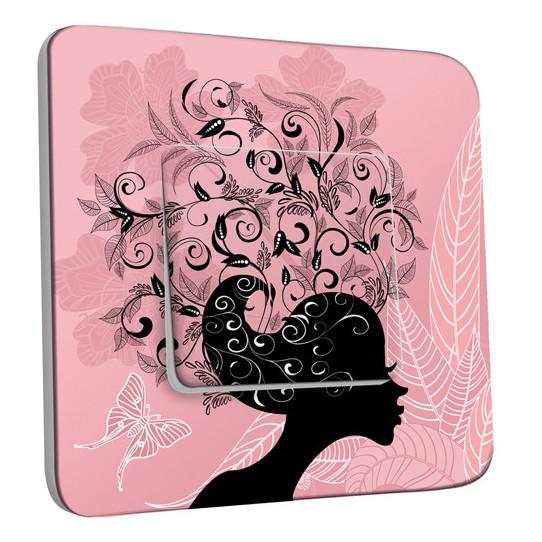 Interrupteur Décoré Simple Va et Vient - Femme en Fleurs Design 4