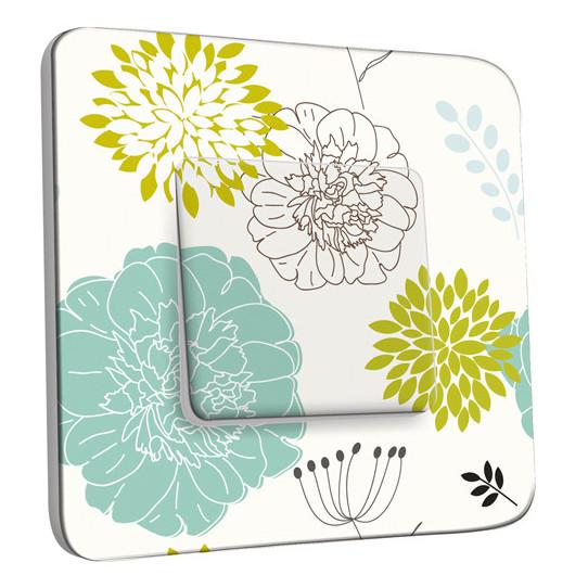 Interrupteur Décoré Simple Va et Vient - Fleurs Abstraits 20