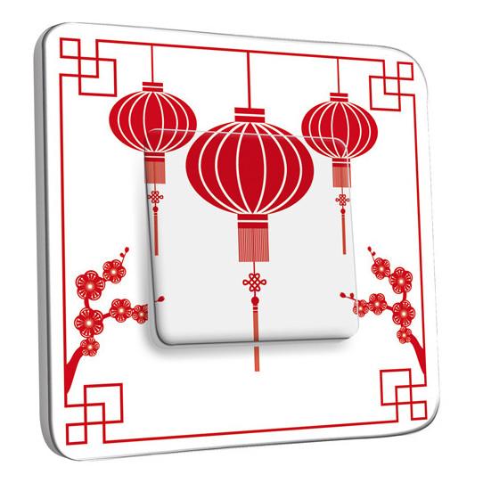 Interrupteur Décoré Simple Va et Vient - Motif Chinois Lampions 1