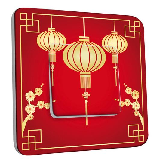 Interrupteur Décoré Simple Va et Vient - Motif Chinois Lampions