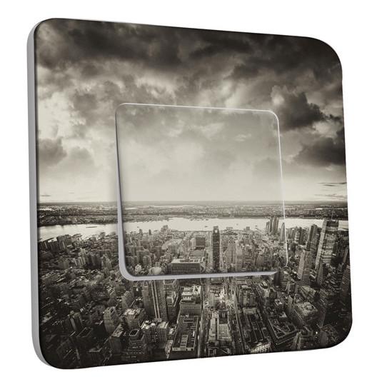 Interrupteur Décoré Simple Va et Vient - New York  Black&White