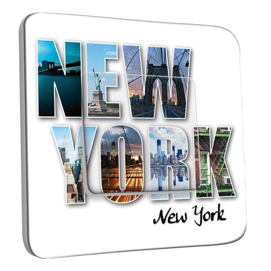 Interrupteur Décoré Simple Va et Vient - New York Lettres