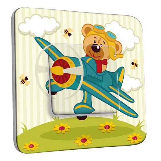 Interrupteur Décoré Simple Va et Vient - Ourson dans l'Avion Enfant