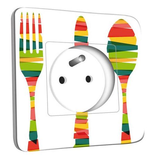 Prise décorée - Cuisine Couverts Multicolorés