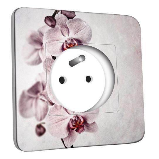 Prise décorée - Fleur Rose Pâle