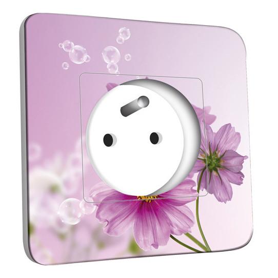 Prise décorée - Fleur violets