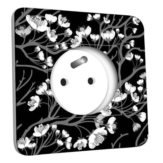 Prise décorée - Fleurs Abstrait Black&White 2