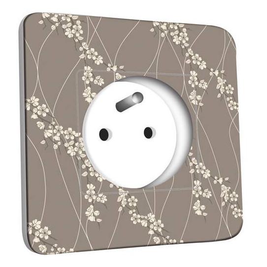 Prise décorée - Fleurs Abstraits Blanc/Taupe