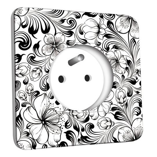 Prise décorée - Fleurs design Black&White