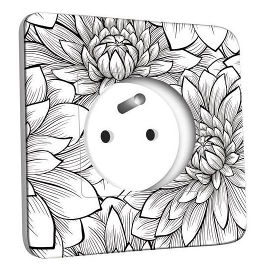 Prise décorée - Fleurs design Black&White 2