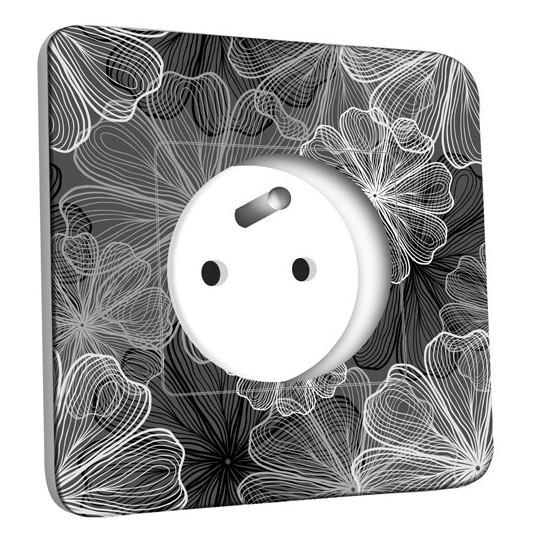 Prise décorée - Fleurs design Black&White 3