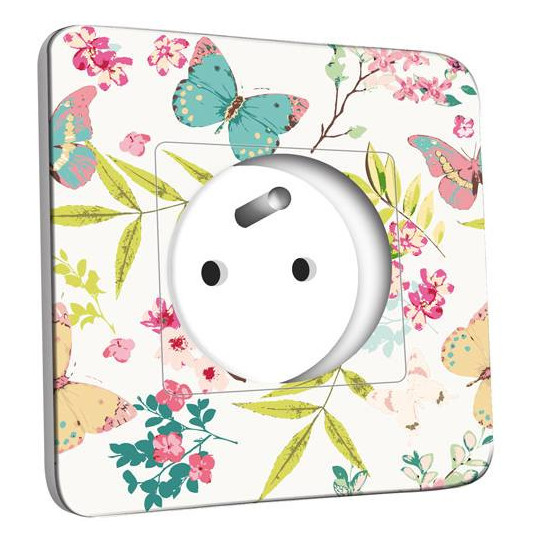 Prise décorée - Fleurs Papillons Abstraits Multicolorés