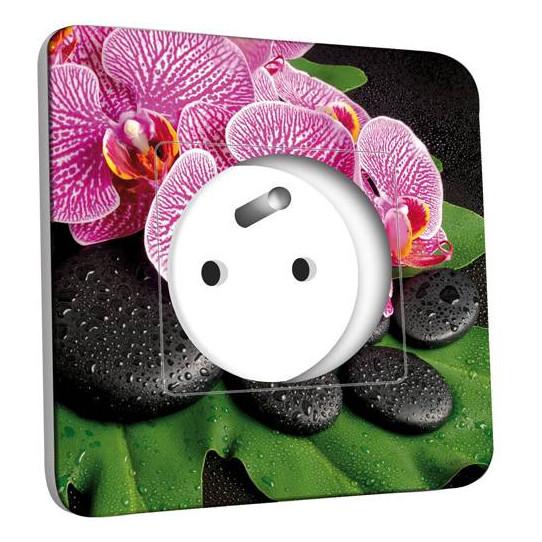 Prise décorée - Galet Orchidée