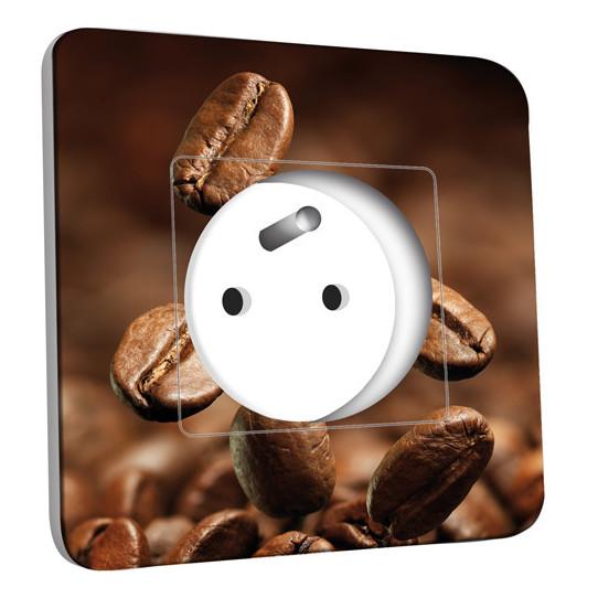 Prise décorée - Grains de café Zoom