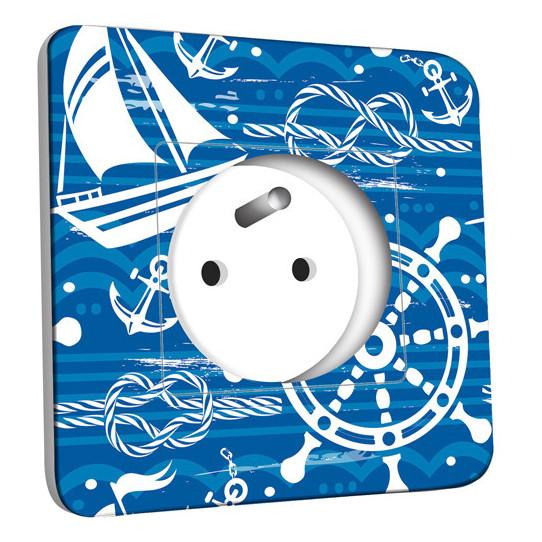 Prise décorée -  Motif Marin Bleu Abstrait 1