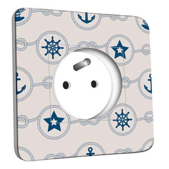 Prise décorée - Motif Marin Bleu Abstrait 10