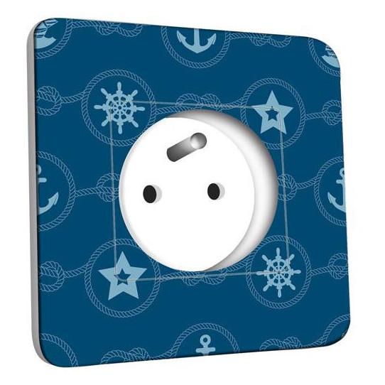 Prise décorée - Motif Marin Bleu Abstrait 11