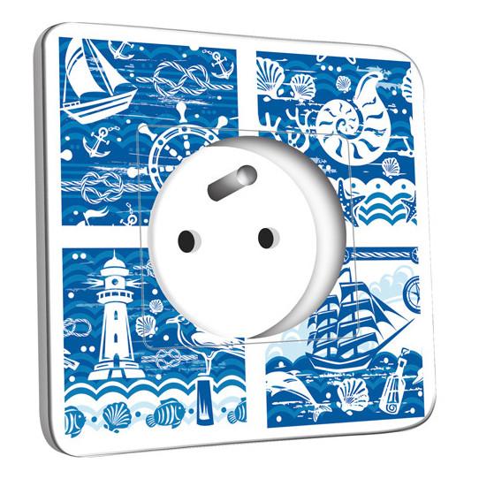 Prise décorée - Motif Marin Bleu Abstrait
