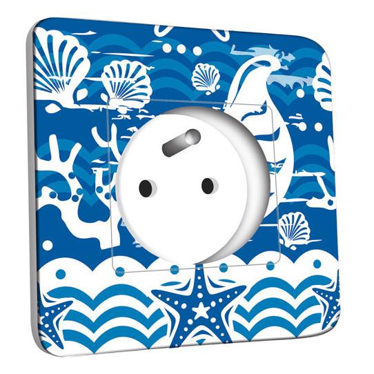 Prise décorée - Motif Marin Bleu Abstrait 2