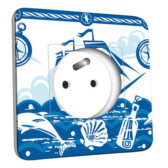 Prise décorée - Motif Marin Bleu Abstrait 3