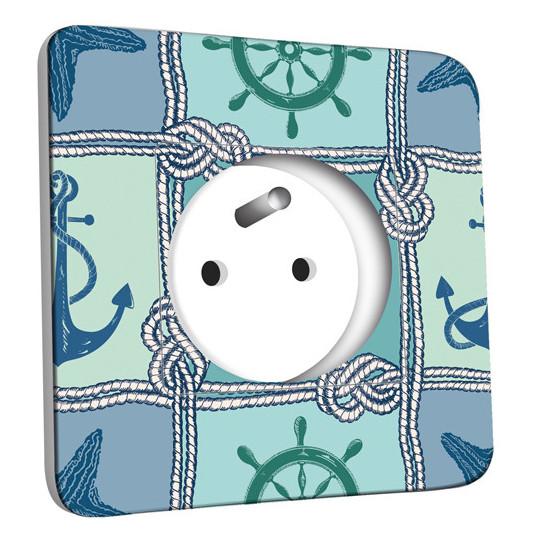 Prise décorée - Motif Marin Bleu Abstrait 5