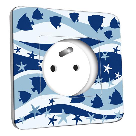 Prise décorée - Motif Marin Bleu Abstrait 7