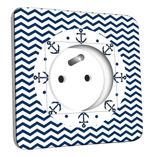 Prise décorée - Motif Marin Bleu Abstrait 9