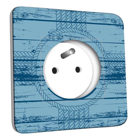 Prise décorée - Motif Marin Bleu Bois Bateau
