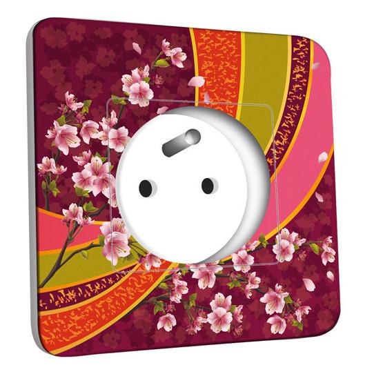 Prise décorée - Motif Oriental Fleurs de Cerisier