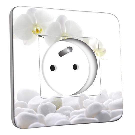 Prise décorée - Orchidéés Blanches