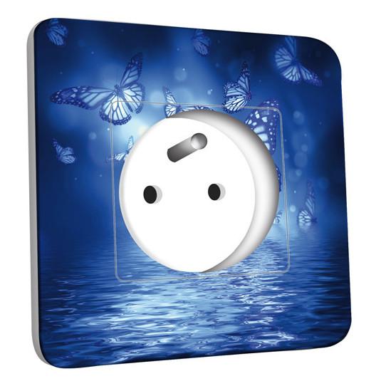 Prise décorée - Papillons Bleus Eau