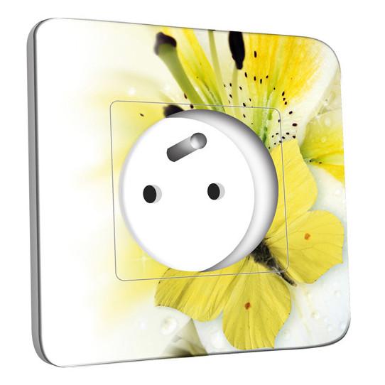 Prise décorée - Papillons Fleur Jaune Zoom