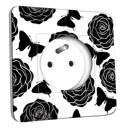 Prise décorée - Roses design Black&White