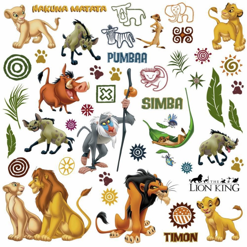 48 stickers le roi lion disney des prix 50 moins cher. Black Bedroom Furniture Sets. Home Design Ideas