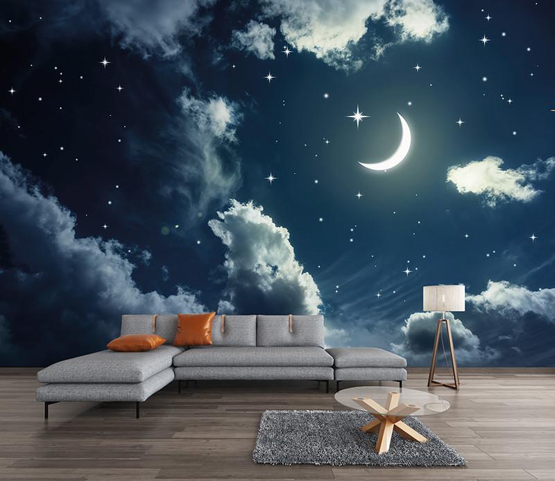Papier peint ciel étoilé lune   Des prix 50% moins cher qu'en magasin