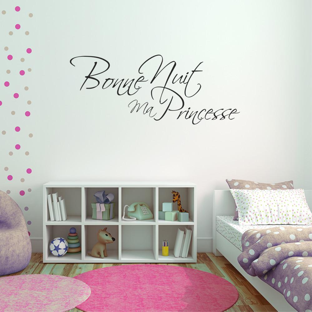 stickers bonne nuit princesse des prix 50 moins cher qu. Black Bedroom Furniture Sets. Home Design Ideas