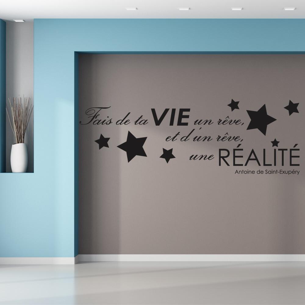 stickers citation saint exup ry des prix 50 moins cher qu 39 en magasin. Black Bedroom Furniture Sets. Home Design Ideas