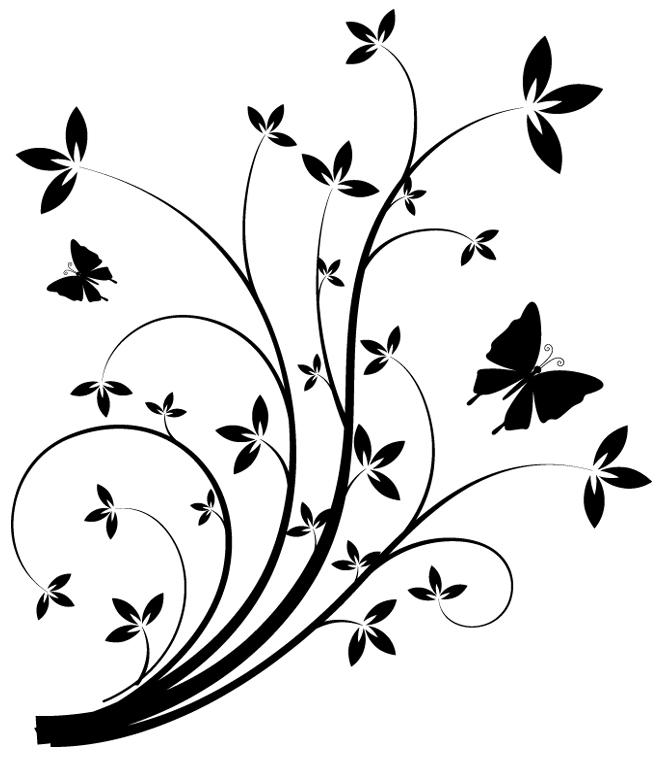 Stickers fleur des prix 50 moins cher qu 39 en magasin - Stickers muraux noir et blanc ...