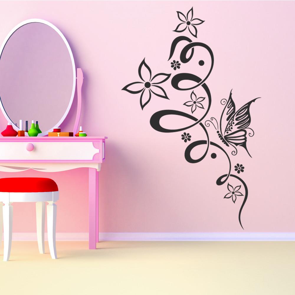 Stickers fleur papillon des prix 50 moins cher qu 39 en for Stickers muraux